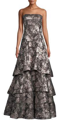 Aidan Mattox Strapless Tiered Metallic Jacquard Evening Gown