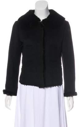 Prada Mink-Trimmed Wool-Blend Coat