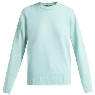 Acne Studios Nalon Face Wool Sweater - Womens - Light Green