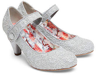 Joe Browns Womens Lace Mary Jane Shoes with Cone Shape Heel Grey