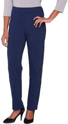 Joan Rivers Classics Collection Joan Rivers Petite Ponte Knit Pull-on Tuxedo Pants w/ Grosgrain Trim