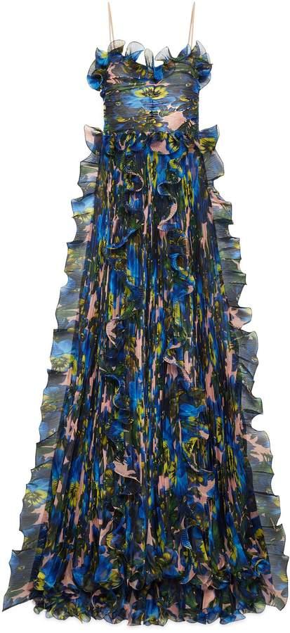 GucciViolet print silk organza gown