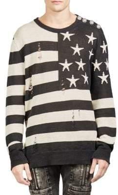 Balmain Ripped American Flag Cotton Sweater