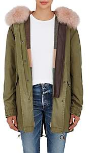 Mr & Mrs Italy Women's Fur-Trimmed Insulated Midi-Parka - Olive