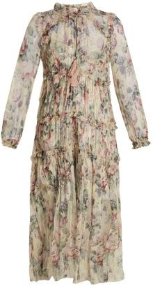 Jasper floral-print silk-chiffon dress