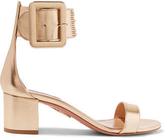 Aquazzura Casablanca Metallic Leather Sandals - Gold