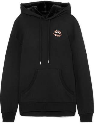 Markus Lupfer Evie Faux-fur Trimmed Embellished Cotton-jersey Hoodie - Black