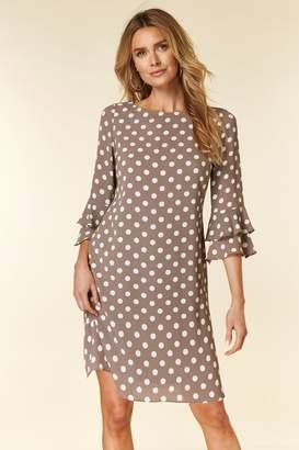 WallisWallis Taupe Polka Dot Flute Sleeve Dress