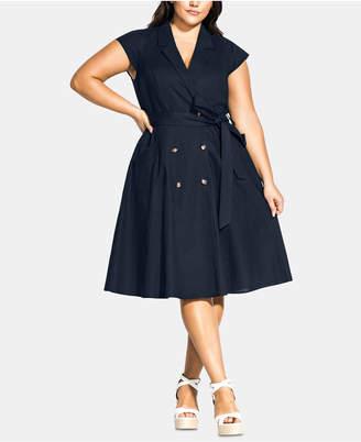 City Chic Trendy Plus Size Lafayette Belted Shirtdress