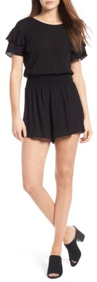 Women's Lush Ruffle Sleeve Romper $49 thestylecure.com
