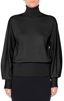 Agnona Bishop-Sleeve Wool Turtleneck Sweater