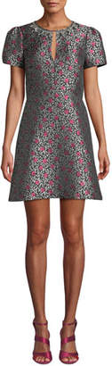 Kate Spade Floral Park Jacquard Short-Sleeve Dress