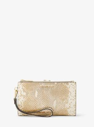 MICHAEL Michael Kors Adele Metallic Snake-Embossed Leather Smartphone Wristlet