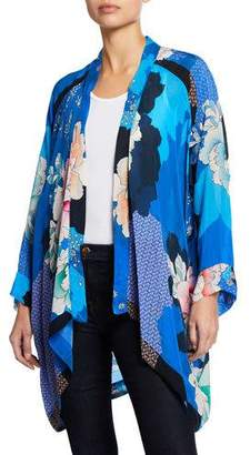 Johnny Was Dolce Long-Sleeve Floral-Print Georgette Kimono, Petite