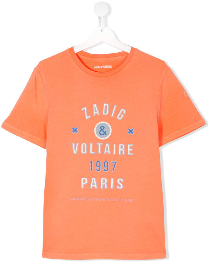 Zadig & Voltaire Kids logo embroidered T-shirt