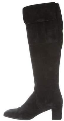 Saint Laurent Suede Square-Toe Boots