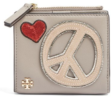 Tory BurchWomen's Tory Burch Peace & Love Mini Leather Wallet - Grey
