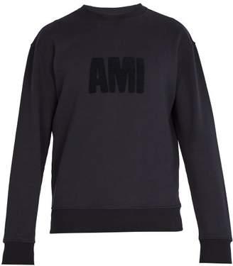 Ami Logo Applique Cotton Sweatshirt - Mens - Navy
