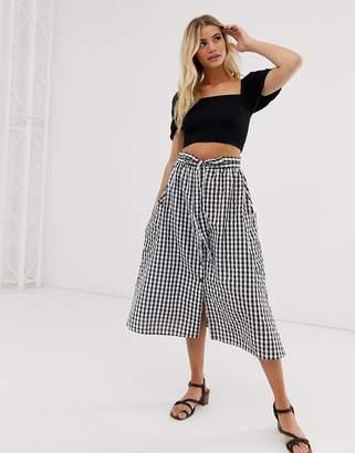 Asos Design DESIGN gingham full midi skirt with belt and pockets