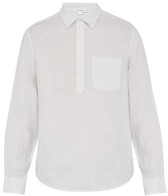 Frame Half Length Placket Linen Poplin Shirt - Mens - White