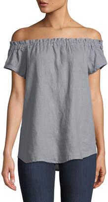 Allen Allen Ruffled Cap-Sleeve Linen Blouse