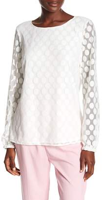 Nine West Mesh Dot Long Sleeve Blouse