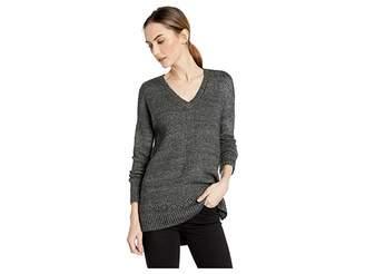 Lilla P Long Sleeve V-Neck Pointelle Stitch Sweater