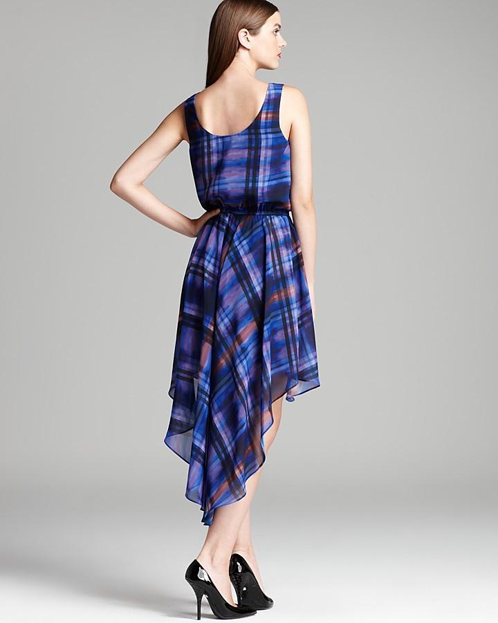 Aqua Dress - Tie Dye Plaid High Low