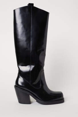 H&M Knee-high Leather Boots - Black