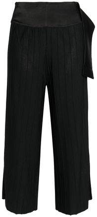 House Of Ninni Cropped Satin-Trimmed Ribbed-Knit Wide-Leg Pants