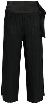 Dagmar House Of Ninni Cropped Satin-trimmed Ribbed-knit Wide-leg Pants