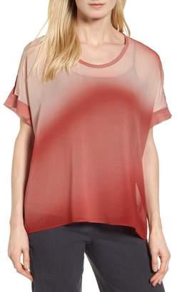 Eileen Fisher Ombr? Silk Short Sleeve Top (Regular & Petite) (Nordstrom Exclusive)