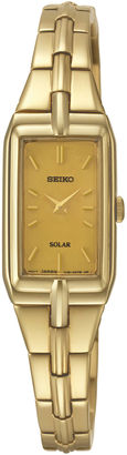 Seiko Womens Champagne Dial Gold-Tone Stainless Steel Solar Watch SUP276 $275 thestylecure.com