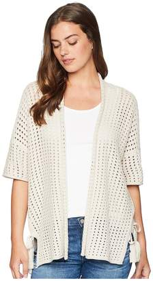 Michael Stars Cotton Knits 3/4 Sleeve Wrap with Ties Women's Clothing