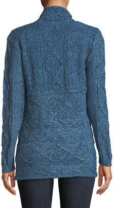 Love Scarlett Cable-Knit Open-Front Cardigan with Zipper Detail