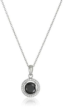 925 Sterling Silver 10mm Pave and White AAA Cubic Zirconia Pendant Necklace