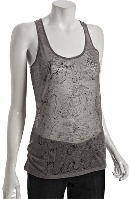 Morphine Generation grey cotton burnout scoopneck racerback tank