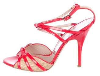 Salvatore Ferragamo Patent Leather T-Strap Sandals Red Patent Leather T-Strap Sandals