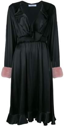 Blumarine fur cuff ruffled wrap dress