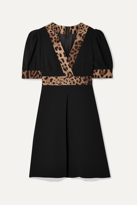 Dolce & Gabbana Wrap-effect Leopard Print-trimmed Crepe Mini Dress - Black