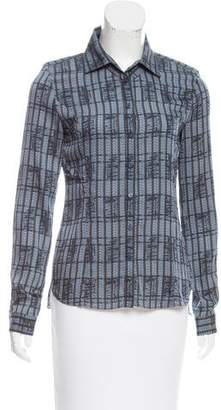 Theyskens' Theory Printed Silk Button-Up Top w/ Tags