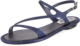 Rene Caovilla Flat Crystal Strappy Sandal