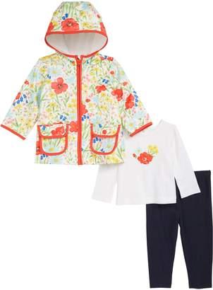 Little Me Floral Graphic T-Shirt, Leggings & Floral Print Hooded Raincoat Set