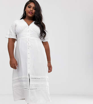 Fashion Union Plus maxi dress with crochet lace panels