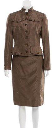 Carolina Herrera Satin Double-Breasted Skirt Suit $160 thestylecure.com