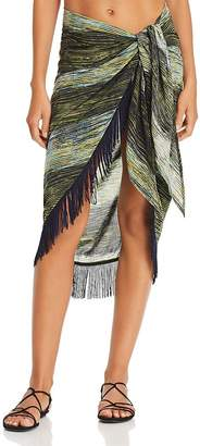 Vince Camuto Striped Fringe Pareo Swim Cover-Up