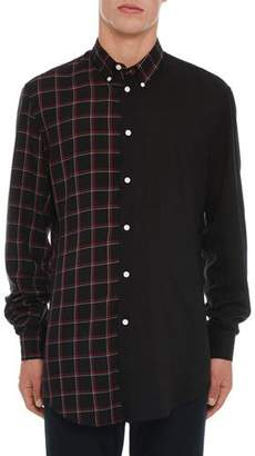Versace Men's Long-Sleeve Button-Front Two-Tone Solid & Check Shirt