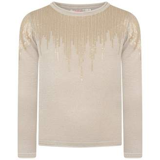 Billieblush BillieblushGirls Gold Knitted Sequin Sweater