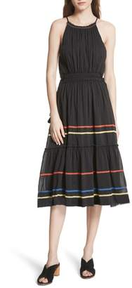 Joie Danit Embroidered Stripe Cotton & Silk Dress