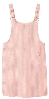 MANGO Striped pinafore dress